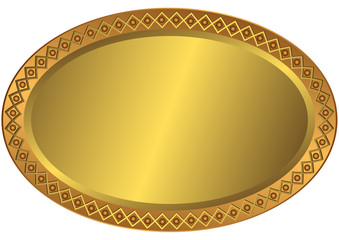 Oval metal volumetric plate with an ornament