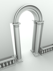 classical entrance with arc, columns and balustrade