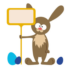 bunny with signboard