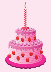 vector birthday cake with burning candle