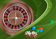 Roulette, dice, chips. Bright vector background.
