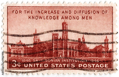 stamp printed in USA shows Smithsonian Institute