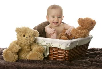baby in wicker basket