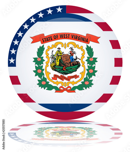 West Virginia Round Flag Button (Virginian State USA Vector Web)
