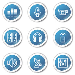 Media web icons, blue sticker series