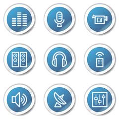 Media web icons, blue sticker series