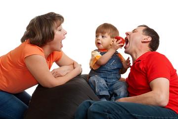 family eating apple