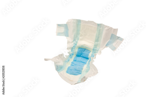 Disposable baby diaper, isolated on white background - 20521858