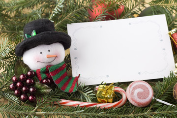 snowman with blank christmas card