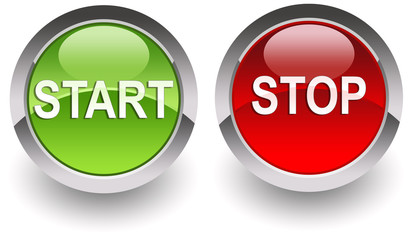 ''Start-Stop'' glossy icons