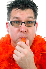 Man is posing in orange outfit over white background
