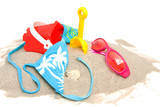Beach stuff over white background