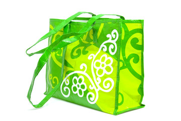 Empty shopping bag over white background