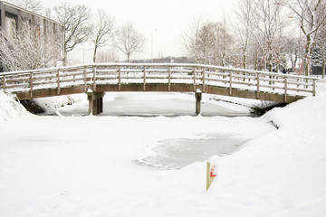 Winter bridge in the snow