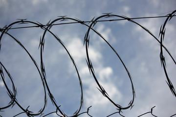Closeup on razor wire