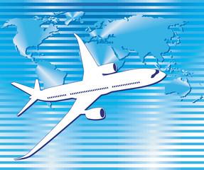 Flugzeug Welt auf Streifen