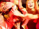 Fototapety Cheering crowd in disco club