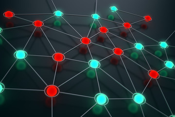 Network concept image - glowing spheres