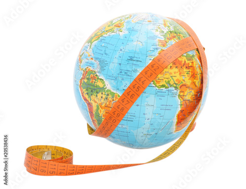 globe with meashure tape on it.