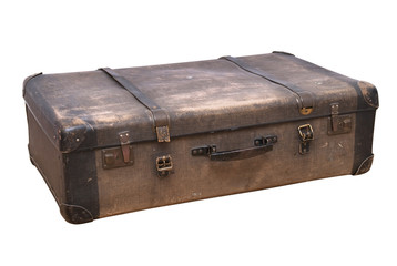 old-fashioned suitcase isolated on white