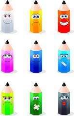 Collezione di buffe matite colorate
