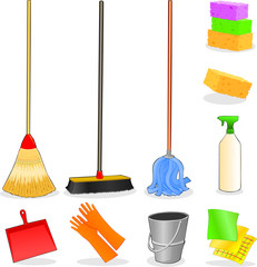Attrezzi per la pulizia, icone