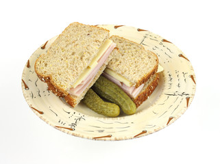 Turkey and cheese sandwich with pickles