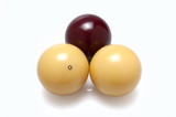 three billiard balls real ivory, two white and one red poster