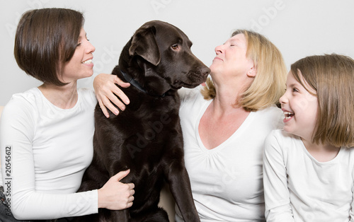 Three Generations of a Family with their Dog