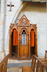 Confessional box in Angers Cathedral. France Series