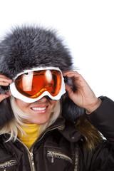 Smiling cute skier