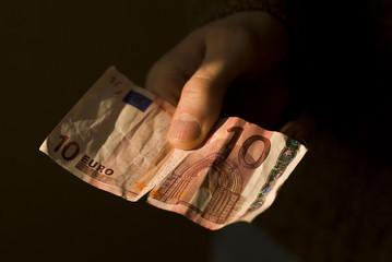 10 euros on dark background