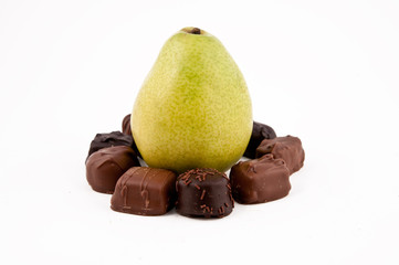 Pear surrounded with chocolate