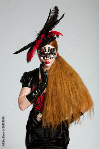 Long haired woman in mask