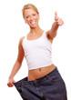 Leinwanddruck Bild - Frau zeigt Top nach abnehmen