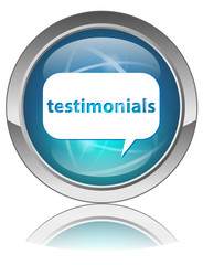 TESTIMONIALS Web Button (Internet Opinions Reactions Share Blue)
