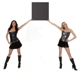 Two Models Holding Blank Signboard