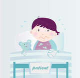 Ill child with broken hand in the hospital. VECTOR. poster