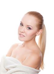 pretty woman on white