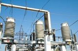 view to high-voltage substation with switch poster