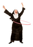 Funny Nun in Socks with Toy Hoop