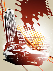 Abstract building design with car
