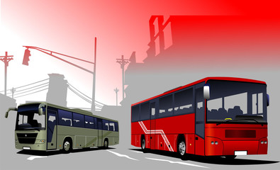 Urban  silhouette and buses image. Vector