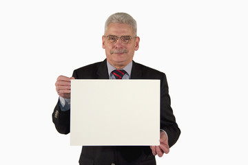 senior businessman holding white board with copy space