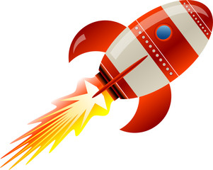 Stylized vector illustration of a rocket blasting off
