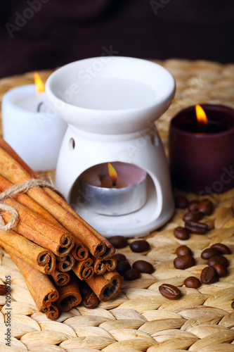 candle and cinnamon