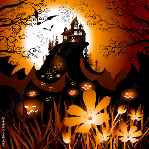 Halloween landscape with yellow flowers.