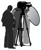 TV team recording on location poster