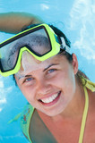 Beautiful smiling woman diver