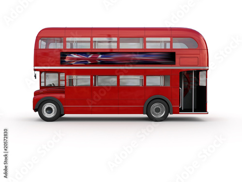 Double decker bus - isolated on white